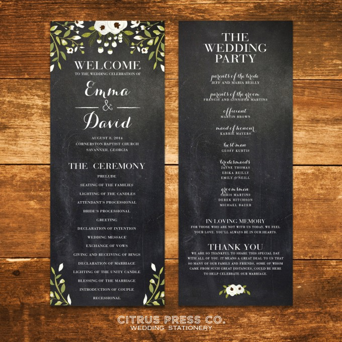 Chalkboard Ceremony Program for Weddings | By Citrus Press Co. | http://emmalinebride.com/wedding/chalkboard-ceremony-program/ ‎