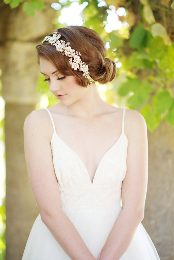 crystal floral headband and hair bun | 50+ Best Bridal Hairstyles Without Veil | http://emmalinebride.com/bride/best-bridal-hairstyles