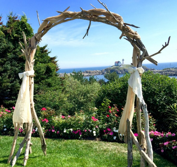 driftwood ceremony arch by saltygirlandlongdog | Where to Buy Wedding Arches | http://emmalinebride.com/ceremony/arches-weddings/