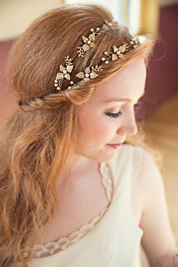 golden flower hair vine | bridal hair vine by violette and iris