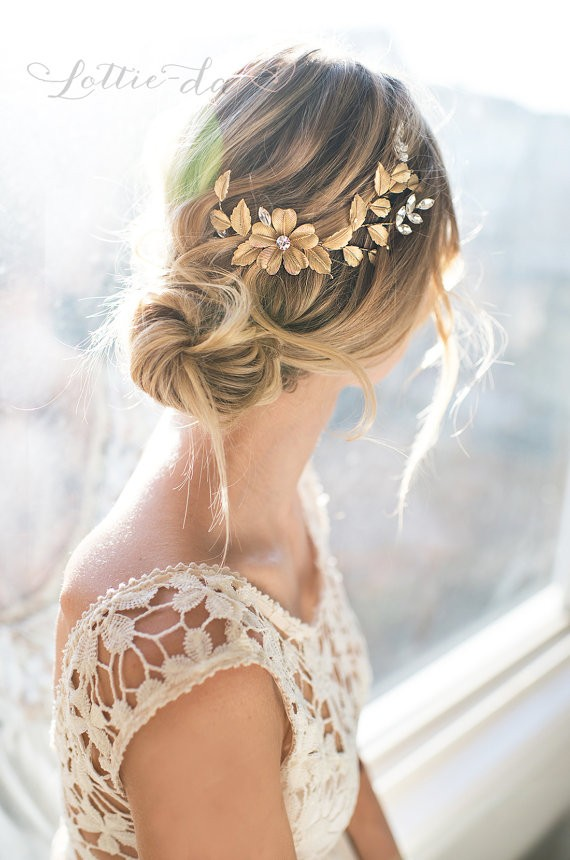 grecian hair wreath | 50+ Best Bridal Hairstyles Without Veil | http://emmalinebride.com/bride/best-bridal-hairstyles