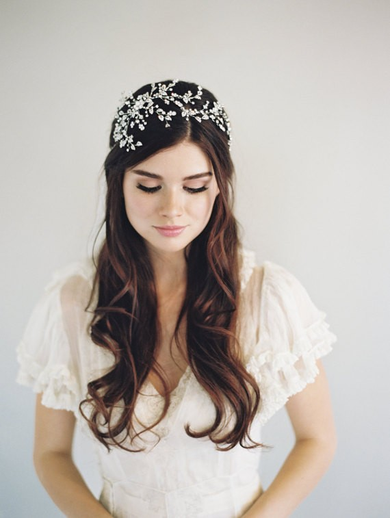 hair down with bridal headband | 50+ Best Bridal Hairstyles Without Veil | http://emmalinebride.com/bride/best-bridal-hairstyles
