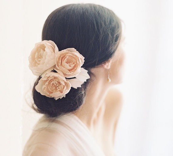 hair with blush flowers | 50+ Best Bridal Hairstyles Without Veil | http://emmalinebride.com/bride/best-bridal-hairstyles