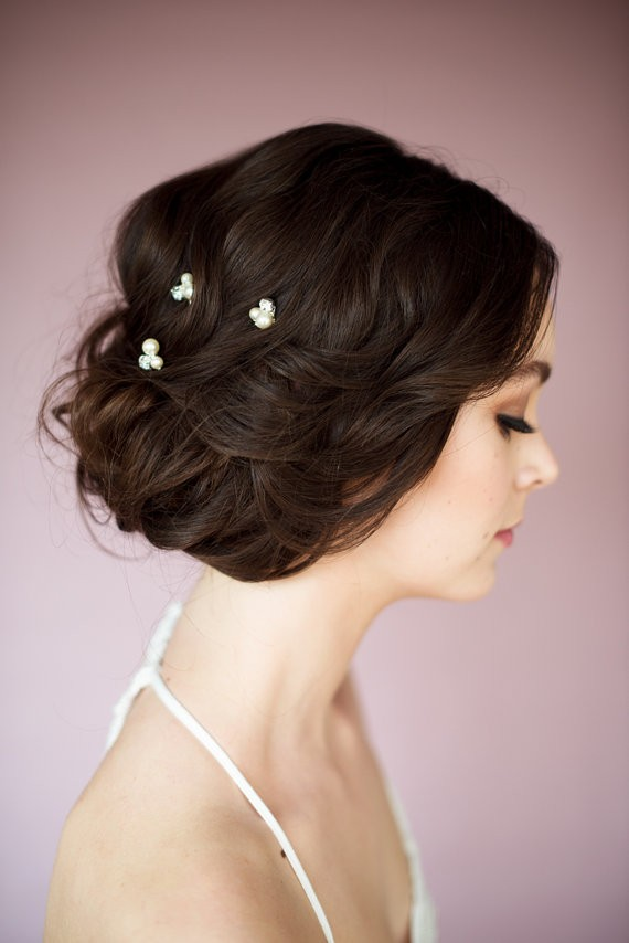hair with pins side | 50+ Best Bridal Hairstyles Without Veil | http://emmalinebride.com/bride/best-bridal-hairstyles