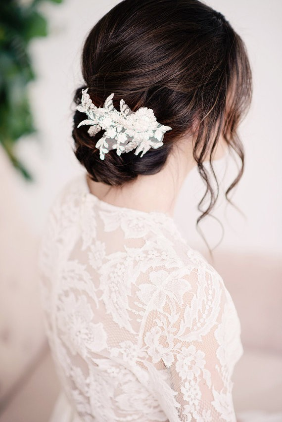 lace headpiece | 50+ Best Bridal Hairstyles Without Veil | http://emmalinebride.com/bride/best-bridal-hairstyles