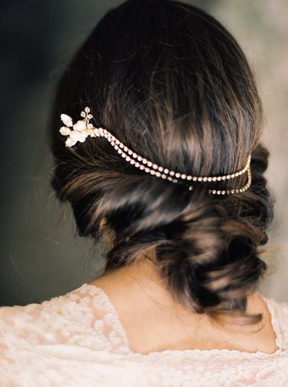 pearl and rhinestone hair chain | 50+ Best Bridal Hairstyles Without Veil | http://emmalinebride.com/bride/best-bridal-hairstyles