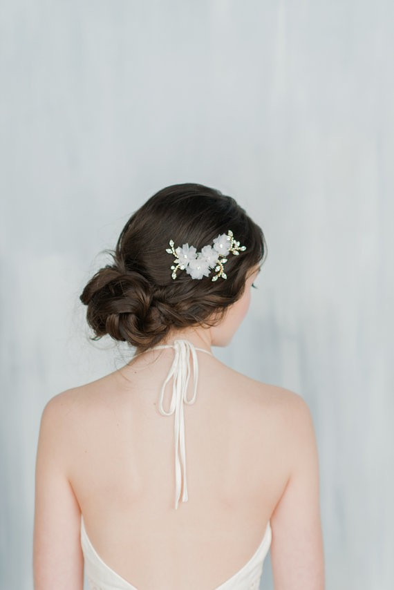 pulled back with bobby pins | 50+ Best Bridal Hairstyles Without Veil | http://emmalinebride.com/bride/best-bridal-hairstyles
