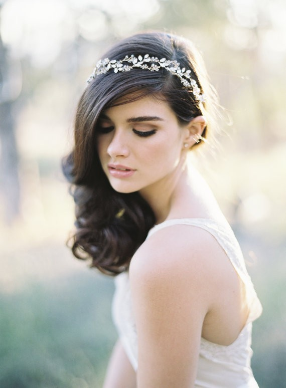 side ponytail with bridal halo | 50+ Best Bridal Hairstyles Without Veil | http://emmalinebride.com/bride/best-bridal-hairstyles