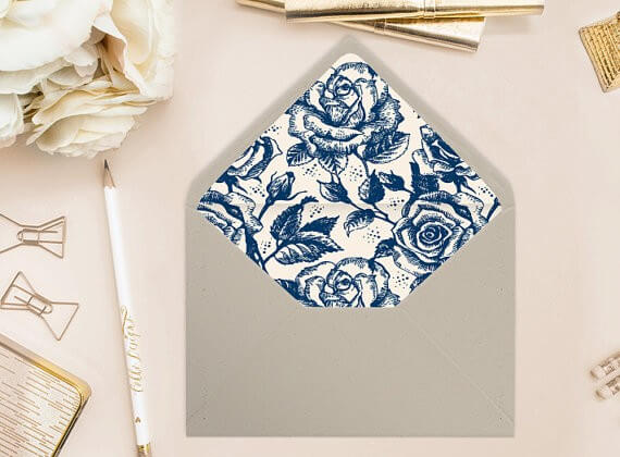 blue and white envelope liners