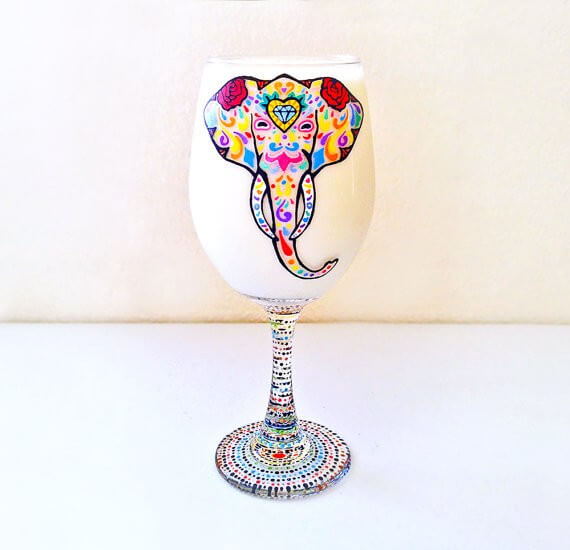 elephant wine glass by NocturnalPandie | bridesmaid yoga pants, tank tops, gifts & more | http://emmalinebride.com/gifts/bridesmaid-yoga-pants-gifts/