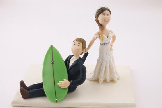figurine wedding cake toppers surfing couple