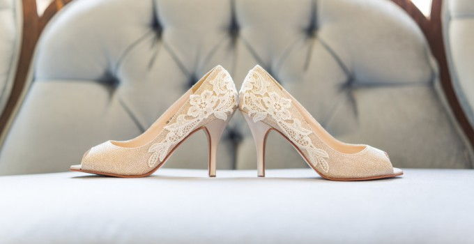 gold bridal heels with lace