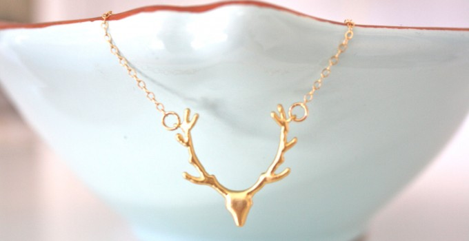 gold deer necklace