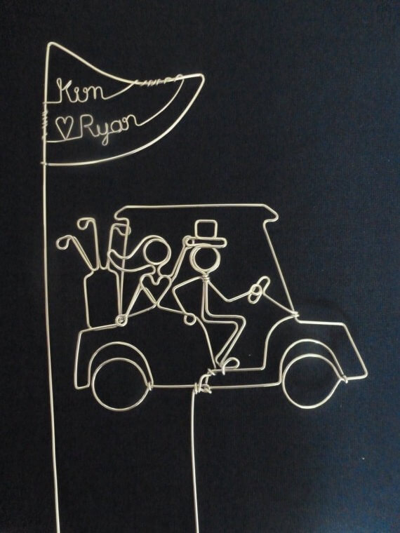 golfers wire cake toppers