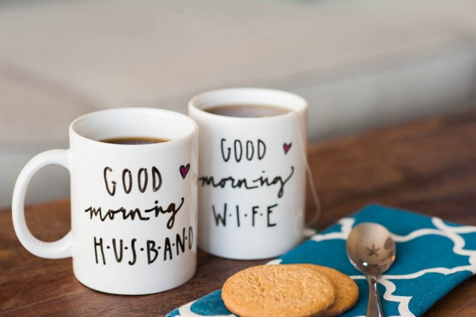 good morning husband wife coffee mugs | via 15 Best Gifts for the Bride from Groom | http://emmalinebride.com/gifts/gifts-for-the-bride-from-groom/
