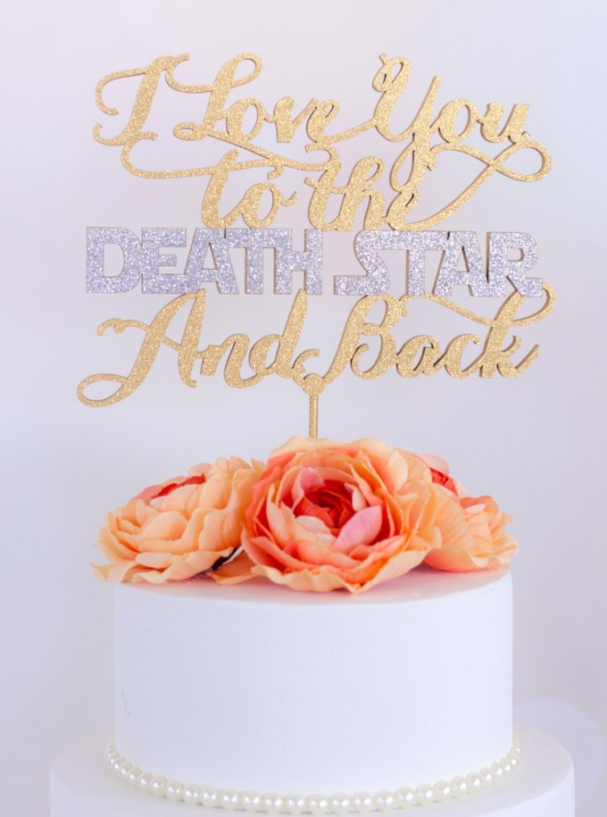i love you to the death star and back wedding cake topper | win a free cake topper https://emmalinebride.com/2016-giveaway/free-cake-topper/