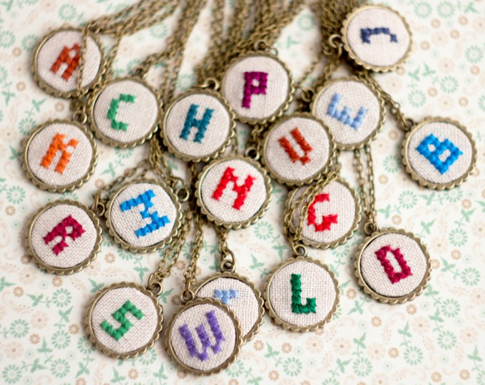 initial necklaces embroidered | Hand Stitched Initial Necklaces - http://emmalinebride.com/wedding/hand-stitched-initial-necklaces/