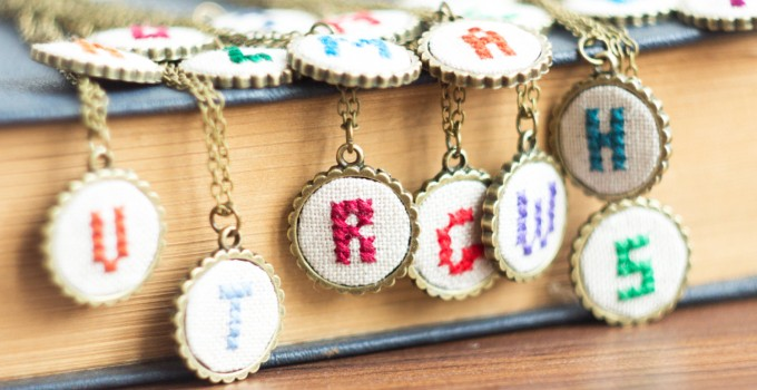 initial necklaces hand embroidered