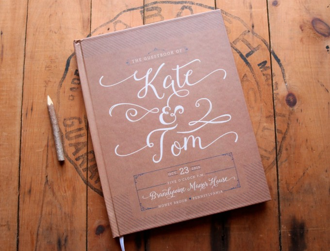 kraft wedding guest book via free guestbook giveaway http://emmalinebride.com/2016-giveaway/free-guestbook/