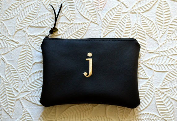 monogram initial clutch purse for bridesmaids