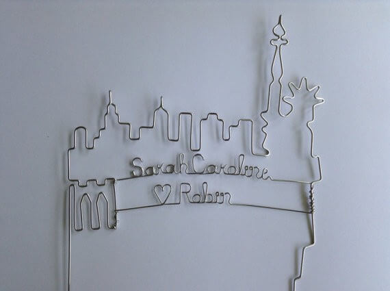 nyc skyline wire cake toppers