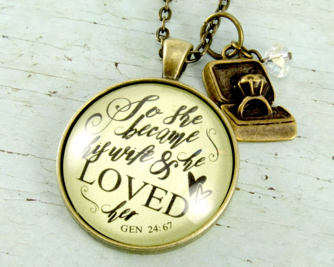 so she became his wife and he loved her necklace | via 15 Best Gifts for the Bride from Groom | http://emmalinebride.com/gifts/gifts-for-the-bride-from-groom/