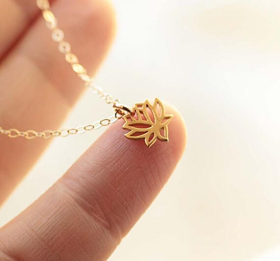 tiny lotus necklace | bridesmaid yoga pants, tank tops, gifts & more | http://emmalinebride.com/gifts/bridesmaid-yoga-pants-gifts/