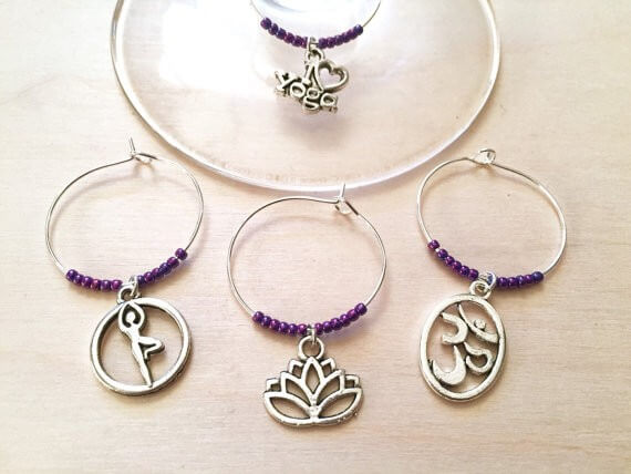 yoga wine charms by Winewifehappylife | bridesmaid yoga pants, tank tops, gifts & more | http://emmalinebride.com/gifts/bridesmaid-yoga-pants-gifts/