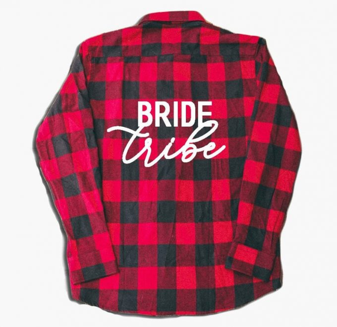842609dab4109 Flannel Bridesmaid Shirts for Getting Ready Before the Wedding