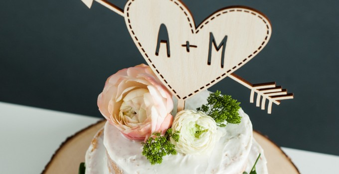 cake topper with heart