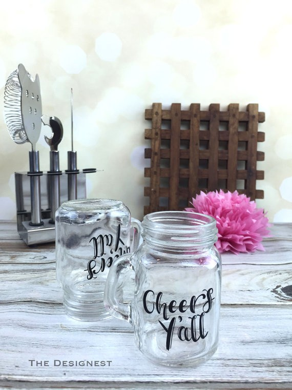 cheers yall mini mason jar shot glasses | country bridesmaid gifts under $25 via http://emmalinebride.com/rustic/country-bridesmaid-gifts/