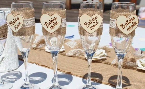 country bridesmaid glasses