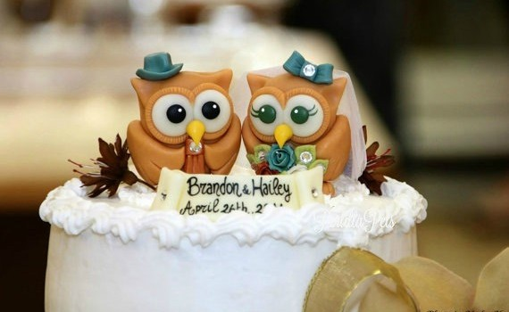 cute love bird owl cake toppers