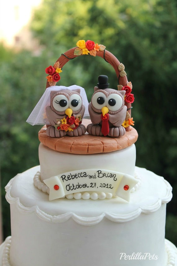 fall wedding owl cake toppers