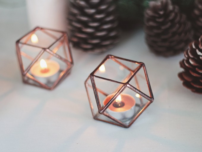geometric candle holders for centerpiece