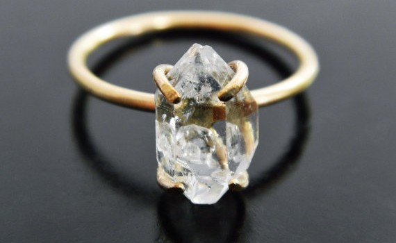 herkimer diamond engagement ring by gaiascandy