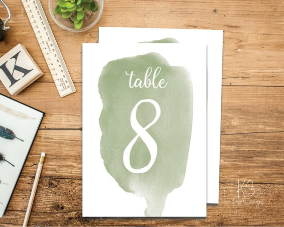 sage wedding table numbers by kbpaperdesigns | via Sage Wedding Ideas from http://emmalinebride.com/color/sage-green-wedding-ideas/