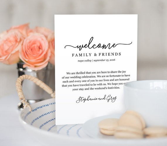 wedding welcome note by mintypaperieshop via 26 Things Guests Love at Weddings from A to Z | http://emmalinebride.com/planning/things-guests-love-at-weddings/ ‎