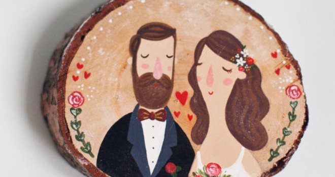 wood slice wedding sign by theroomba