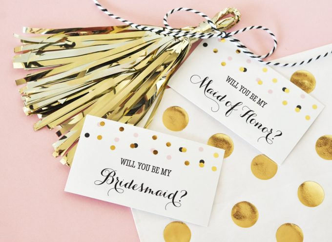 Be My Bridesmaid Tags and Tassels by Mementos Events via 21 Festive Tassel Wedding Decorations & Accessories | http://emmalinebride.com/themes/tassel-wedding-decorations/