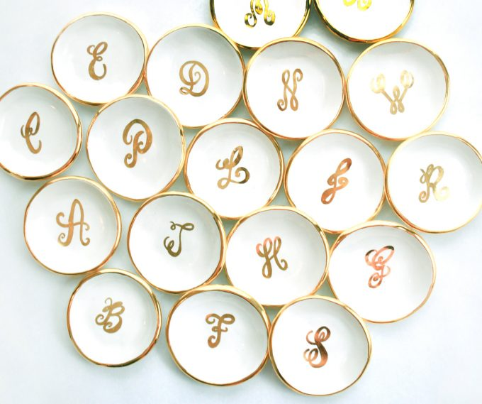 Round Monogram Ring Dish by Susan Gordon Pottery | http://etsy.me/2cBOEgG | via Emmaline Bride's Handmade-a-Day Pick: http://emmalinebride.com/wedding/heart-shaped-ring-dish/