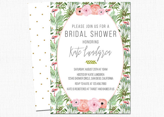 Flamingo Tropical Invitations by Pixel Meets Paper | via Palm Tree Bachelorette Party Ideas http://bit.ly/2db3WOL