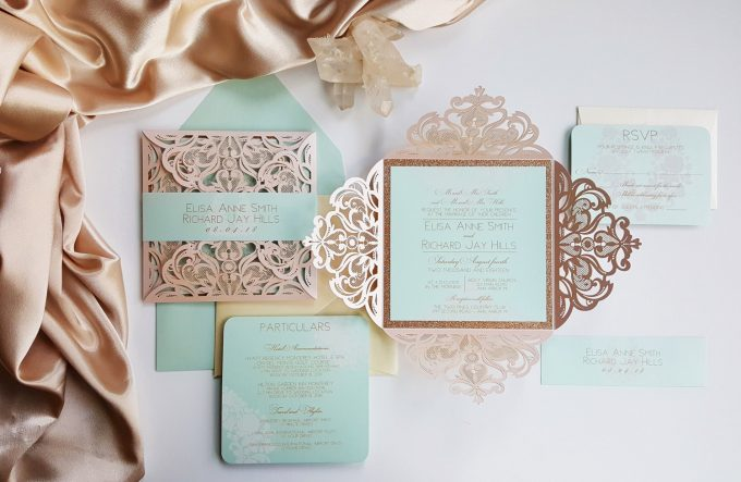 Best Wedding Invitations // By Designed With Amore 2. Lace And Kraft  Invitations