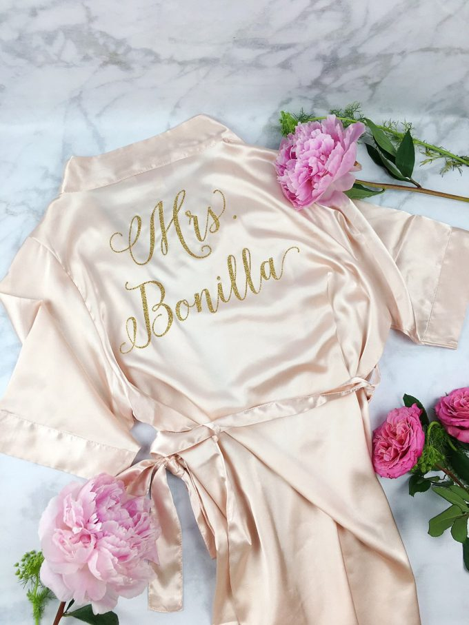 Personalized Bride Robe for Wedding Day / Getting Ready | by Shades of Pink Boutique | http://emmalinebride.com/wedding/personalized-bride-robe/