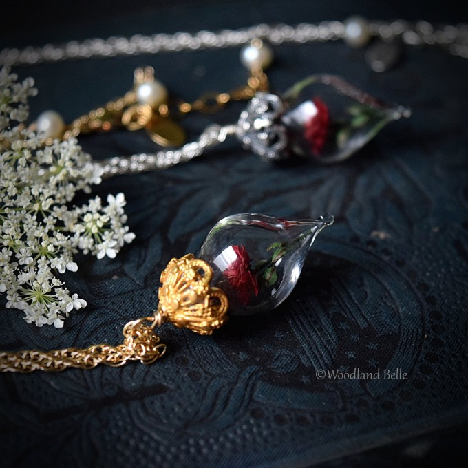 Beauty and the Beast Rose Necklace | http://emmalinebride.com/wedding/beauty-and-the-beast-rose-necklace