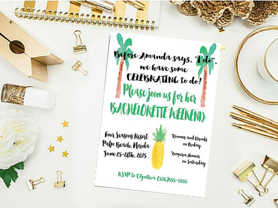 Invitations by The Peachy Pelican NOLA | via Palm Tree Bachelorette Party Ideas http://bit.ly/2db3WOL