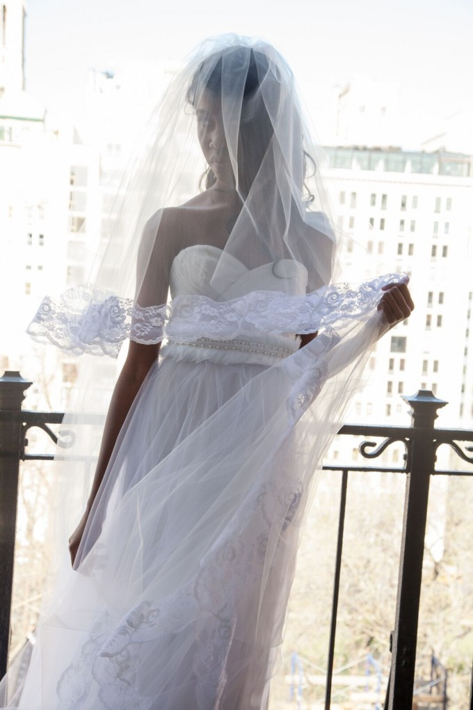 Cathedral length veil and sash | by OBM Bridal