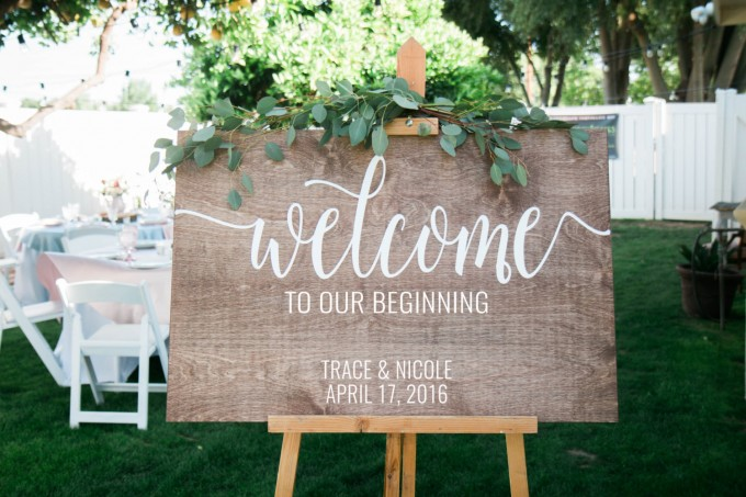 Welcome to Our Beginning sign | by Chalk In Hand | via http://emmalinebride.com/wedding/welcome-to-our-beginning-sign