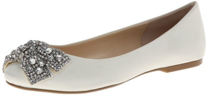 Ballet Bridal Flats by Betsey Johnson | 21 Wedding Flats That Will Look Beautiful for the Bride - https://emmalinebride.com/bride/wedding-flats-bride/