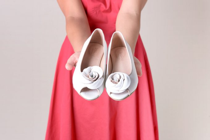 Bridal Flats with Rose Detail by Lou Lou Ballerina | 21 Wedding Flats That Will Look Beautiful for the Bride - https://emmalinebride.com/bride/wedding-flats-bride/